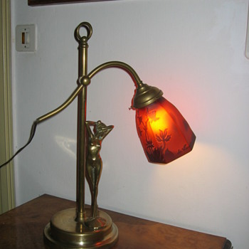 A brass Nude Lady lamp