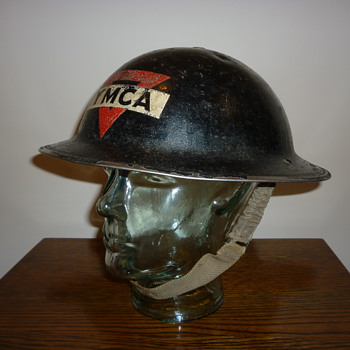 British WWII YMCA steel helmet, (civil defence). - Military and Wartime
