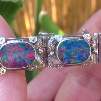 Rhoda Wager (Circle of) Silver and Opal Bracelet - Art Deco