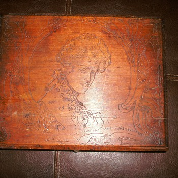 Wooden Box with Victorian Lady carved in lid.