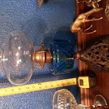 Blue glass oil lamp with cast Iron base