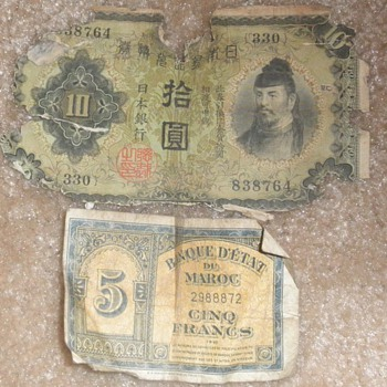 Moroccan and Japanese Bills - World Coins
