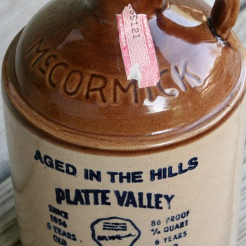 1976 Platte Valley Corn Whiskey McCormick Stoneware Decanter