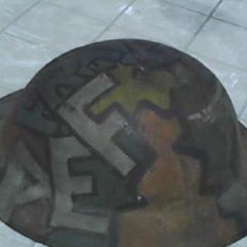 WW1 Painted Helmet - AEF France - Military and Wartime