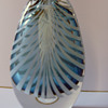 blue vase cased clear with white sommerso stripes
