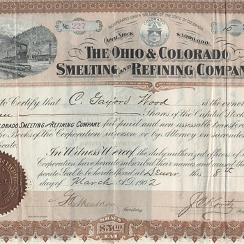 The Ohio & Colorado Smelting and Refining Company, H.H. Franklin Manufacturing Company, General Public Utilities Corporation - US Paper Money