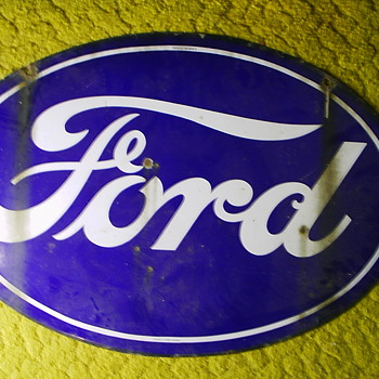 Original 1930's Double-Sided Porcelain Ford Dealership Sign
