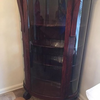 Antique Curio Cabinet with rounded glass