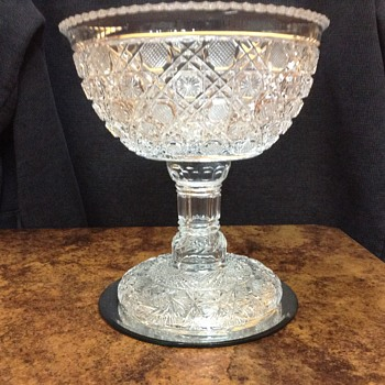 My favorite Cut glass compote with pedestal