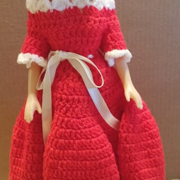 Oversized Barbie Doll in Red Crochet Dress with White Trim & Shoes