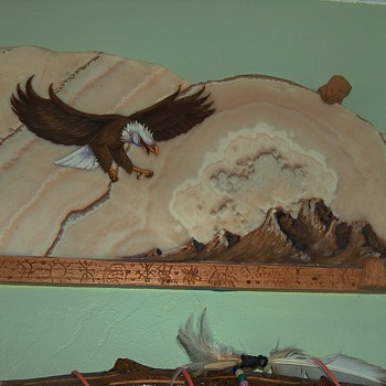 Eagle on stone  - Folk Art