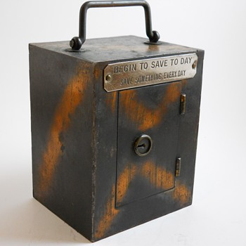 "Steel Bank""Begin to Save To Day, Save something Every day""Lodi Steel Box Maker,Lodi, Ohio, Circa 1900 - Coin Operated"