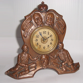 Vintage World War One Memories Metal Table Clock - USA - Clocks