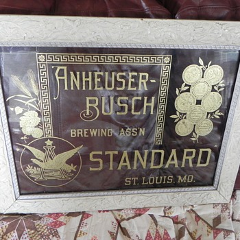 Rare Anheuser-Bush Standard etched glass & framed sign from 1890's. - Breweriana