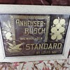 Rare Anheuser-Bush Standard etched glass &amp; framed sign from 1890&#039;s.