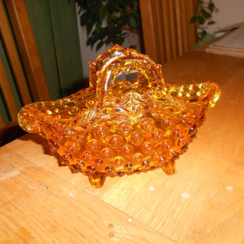 Amber Depression Glass Basket