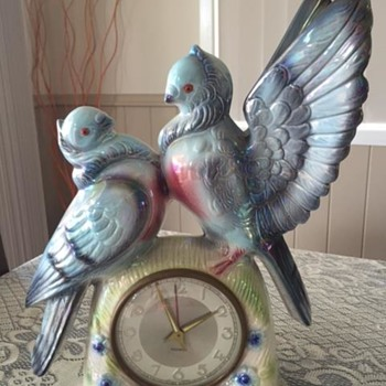 Jema Holland Large Twin Turtle Dove Mantle Clock numbered (418) - Clocks