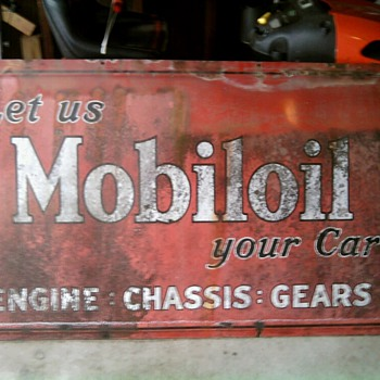 Antique Mobiloil Metal Sign