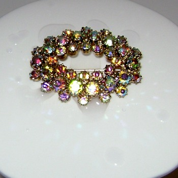 Aurora Borealis Brooch - Costume Jewelry