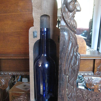 Carved Wooden Man Opens up to Stash a Bottle Inside  - Folk Art