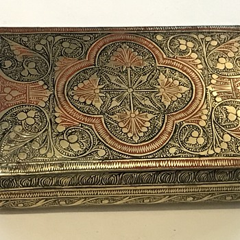 Antique coloured metal cigar/cigarette case/box