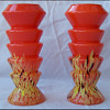 ZIG ZAG ORANGE SPATTERED VASES