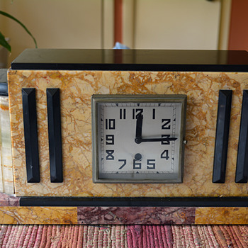 1935 - 40 French Marble and Oynx Mantel Clock - Art Deco