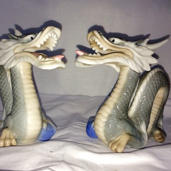 Vintage Pair Yoshimi K. Japanese Porcelain Dragons  - Asian