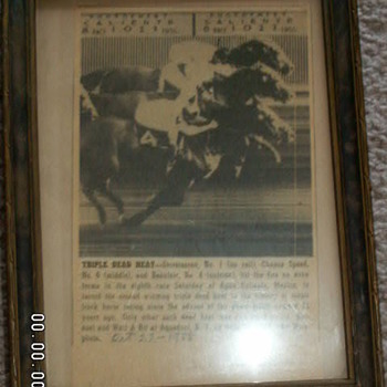"""Triple Dead Heat"" ~October 22, 1955~ Antique Framed Horse Racing Article  - Paper"