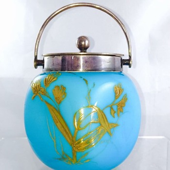 Early Loetz? Bohemian Enamelled Pinched Blue Cased Covered Candy Dish