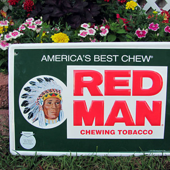 Red Man Chewing Tobacco Sign - Signs