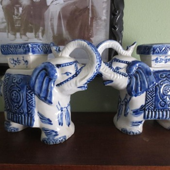 Blue and white elephants