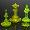 Beidermeier Bohemian cut glass perfume bottles