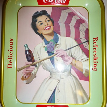 "1950's Coca-Cola ""Umbrella Girl"" Tray - Coca-Cola"