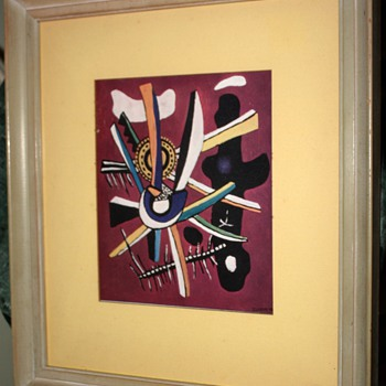 Old print of 'Composition' by Fernand Leger, 1943. - Posters and Prints