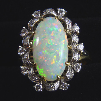 Circa 1980's Opal & Diamond Cocktail Ring, mystery maker GDNS