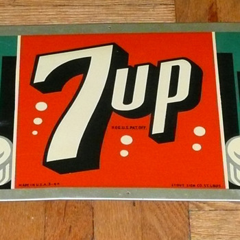 7 UP Soda Sign 1940's - Signs