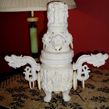 Faux Ivory Incense Censer - Asian