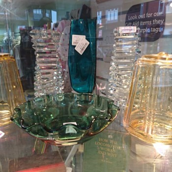 The display cabinet in my local charity shop today - glass glass everywhere!