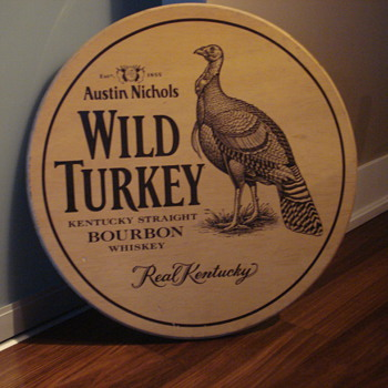 VINTAGE WILD TURKEY STRAIGHT BOURBON WHISKEY ADVERTISING SIGN