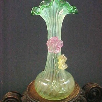 Bohemian Vaseline Opalescent Applied Floriform Art Glass JIP Vase - Art Glass