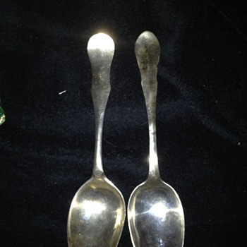 18th Century Swedish (?) Sterling Serving Spoons -Funny monograms - Sterling Silver
