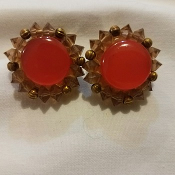 Vintage Lisner Costume Orange and Gold(ish) Clip on Earrings Circa 1955 to 1970