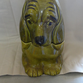 Vintage Green Basset Hound Cookie Jar