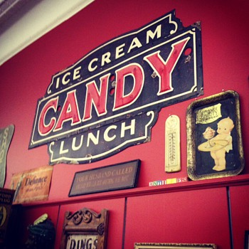 1930's Embossed Neon Porcelain Sign...Ice Cream...Candy...Lunch...Three Colors - Signs