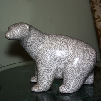 Mid-century Polar Bear w/ Crackle Glaze - Art Pottery