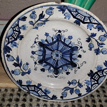 Very Old Chinese?  Blue And White Plate With Flowers and Fruit - Asian