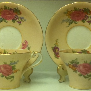 Aynsley Cup and Saucer Sets w/Decorated Cup Interiors