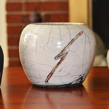 Three Raku Glazed Pots - Art Pottery