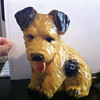 Large Yellow Ceramic Dog Figurine